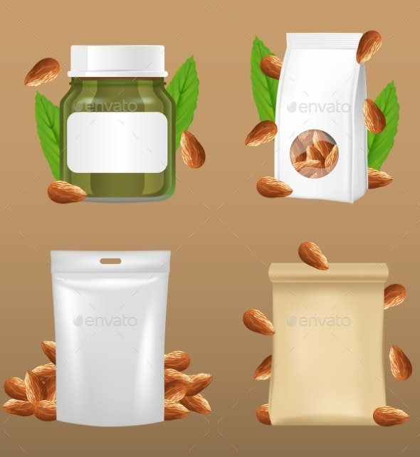 Almonds Snack Package Vector Realistic Mockup Set - Food Objects