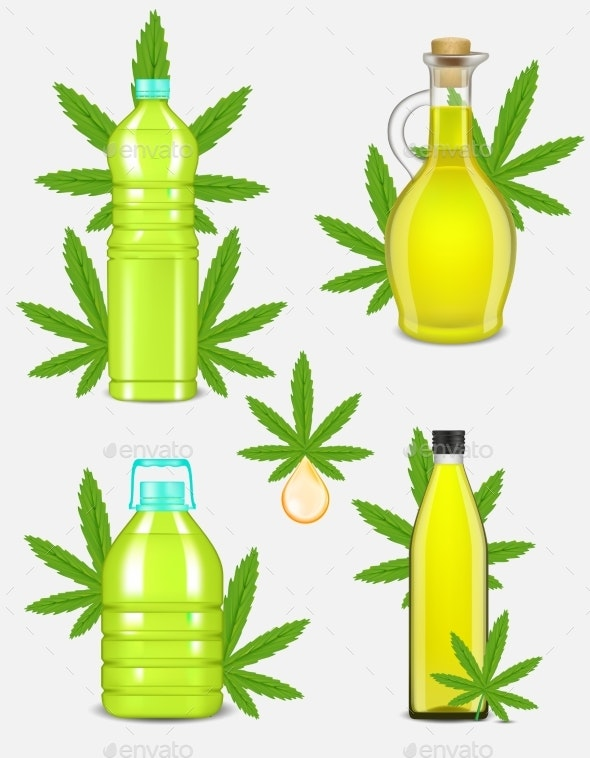 Cannabis Oil Bottle Set Vector Realistic - Health/Medicine Conceptual