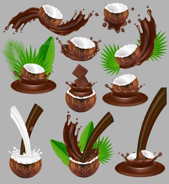 Coconut in Chocolate Splash - Food Objects