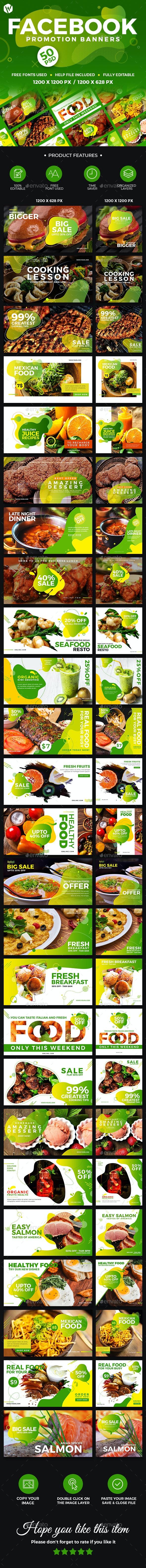 50 Facebook Food Banners - Social Media Web Elements