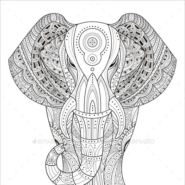 Elephant Vector Illustration in Zentangle Style