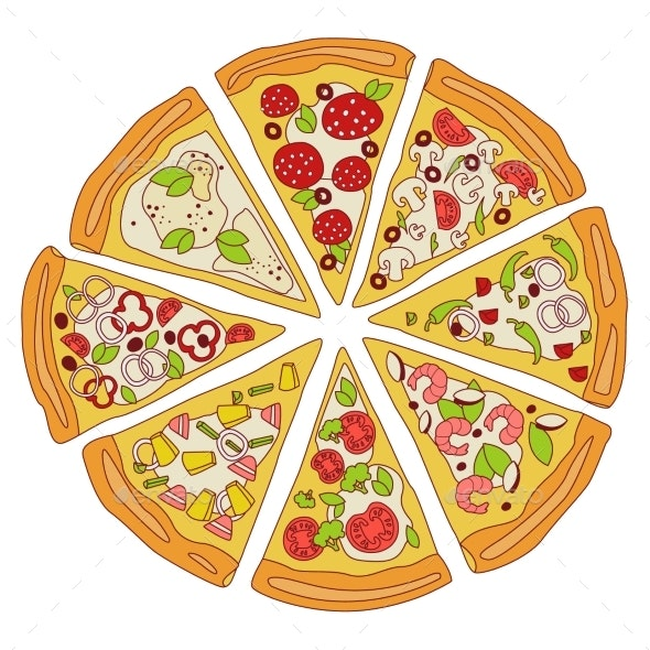 Tasty Sliced Pizza Illustration - Food Objects