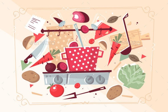 Kitchen Pattern with Food and Kitchenware - Food Objects