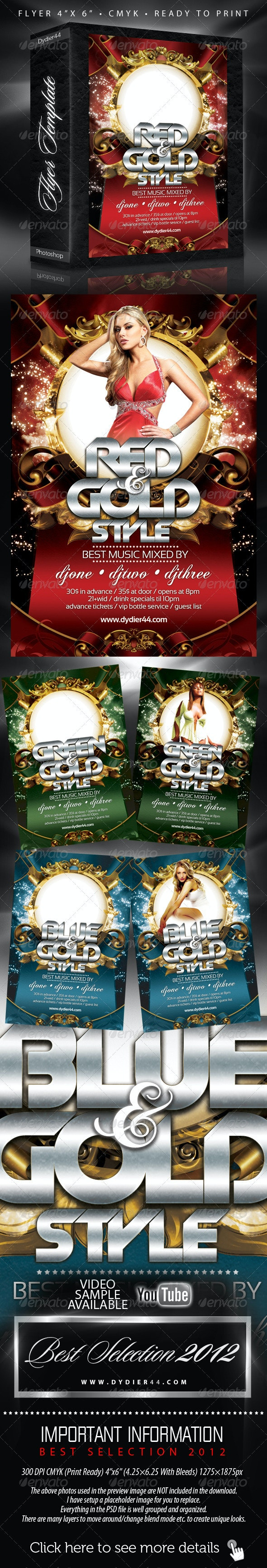 Colors and Gold (Flyer Template 4x6 ) - Clubs & Parties Events