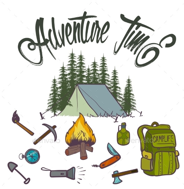 Hand Drawn Vector Icon of Orange Camping - Sports/Activity Conceptual