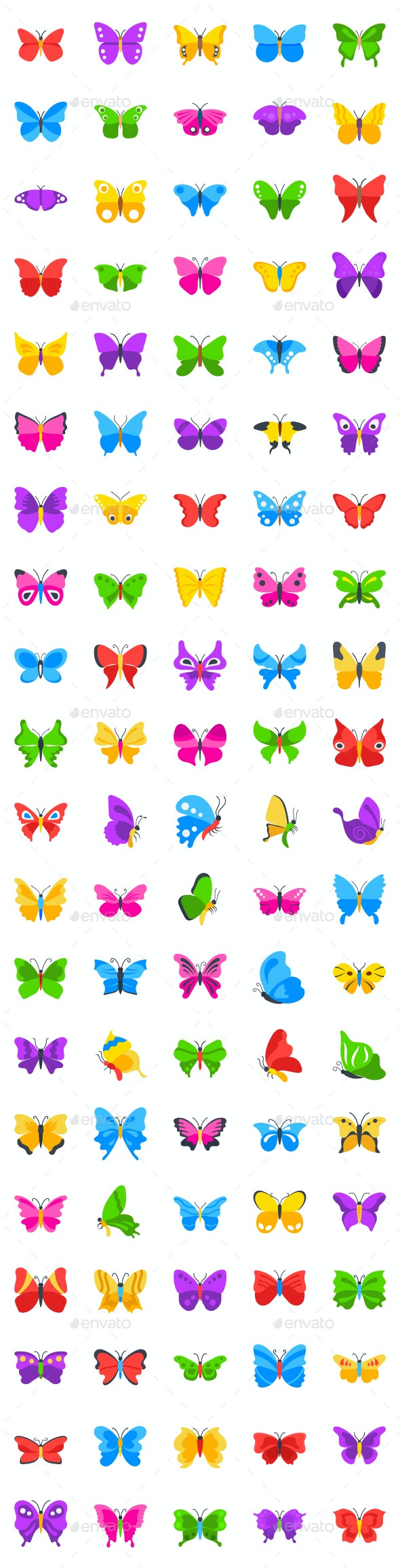 100 Flat Butterfly Vector Icons - Animals Characters