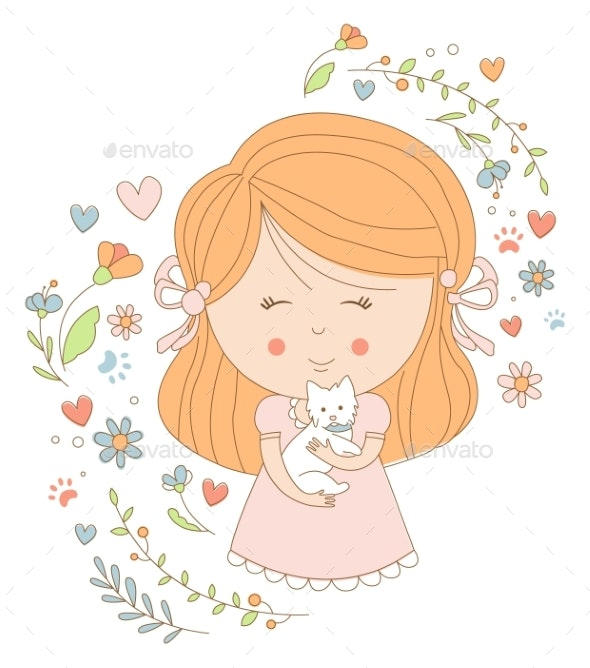 Girl Holding a Cat - Animals Characters