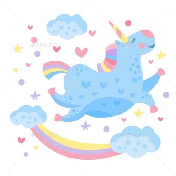 Rainbow Unicorn in the Clouds - Miscellaneous Characters