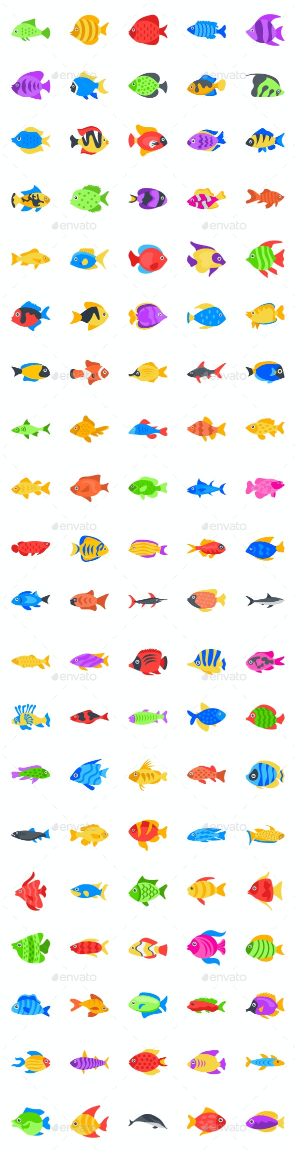 100 Flat Fishes Vector Icons - Animals Characters