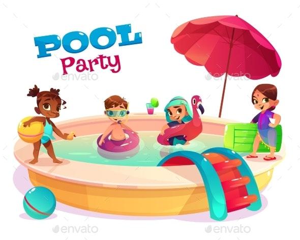Multiethnic Kids Swimming in Pool Carton Vector - Sports/Activity Conceptual