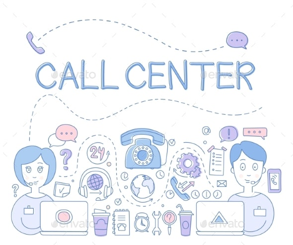 Support Call Center - People Characters
