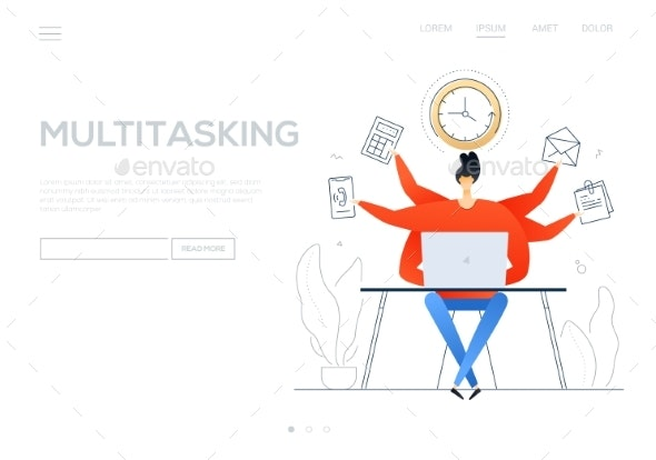 Multitasking - Flat Design Style Colorful Web - Concepts Business