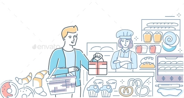Bakery Shop - Colorful Line Design Style - Food Objects