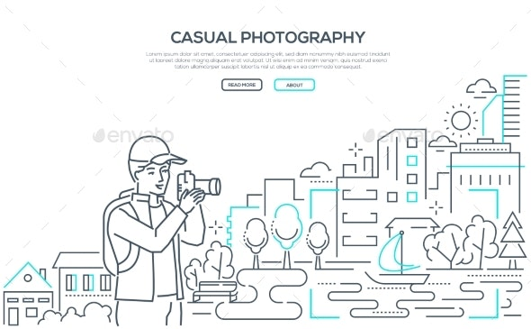 Casual Photography - Line Design Style Web Banner - People Characters