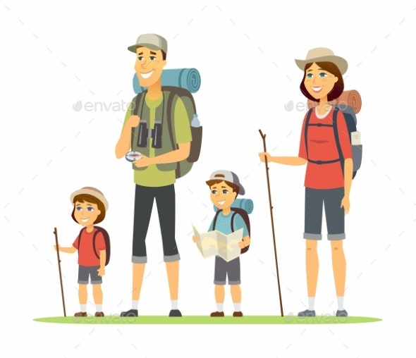 Family Goes Camping - Cartoon People Characters - People Characters