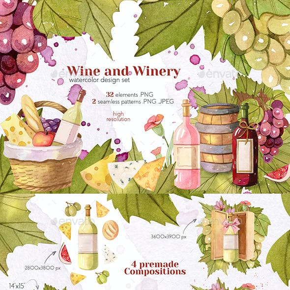 Watercolor Wine and Winery Collection