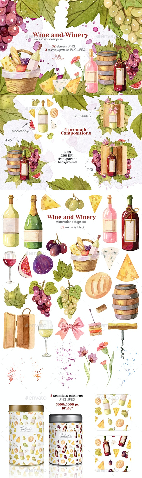 Watercolor Wine and Winery Collection - Objects Illustrations