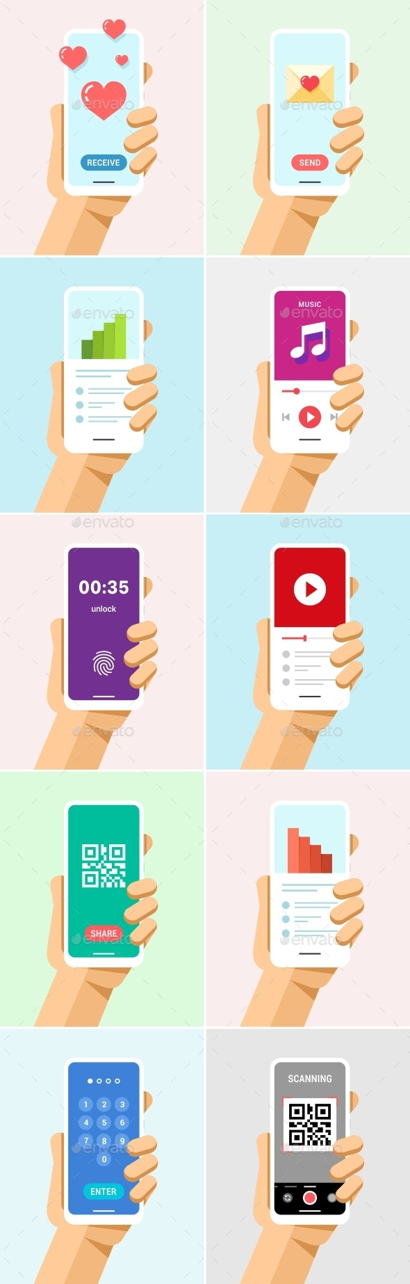 Phone in Hand Mock-Up Flat Vector Set 5 - Communications Technology
