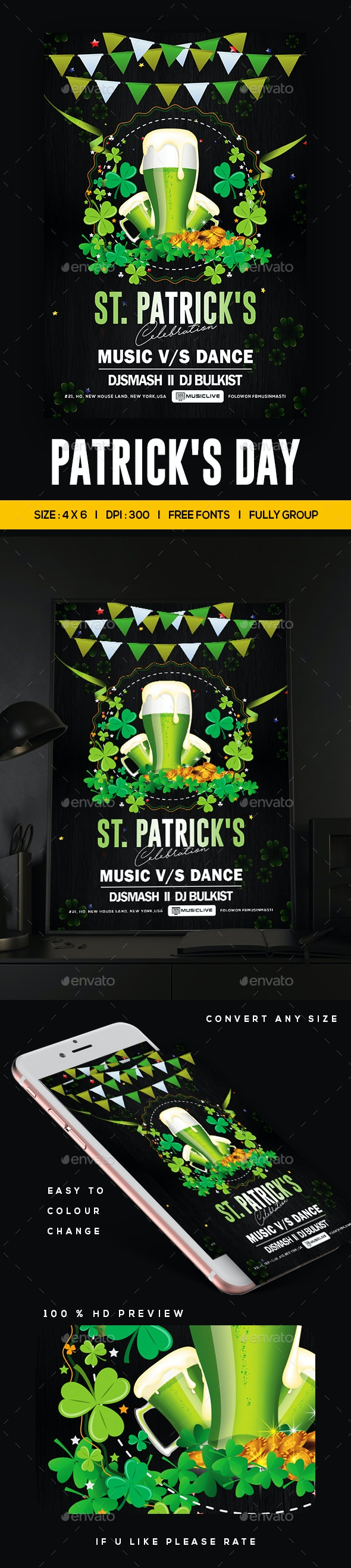 St. Patrick's Day Party Flyer - Clubs & Parties Events