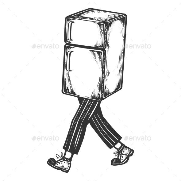 Fridge Walks on Its Feet Sketch Engraving Vector - Miscellaneous Vectors