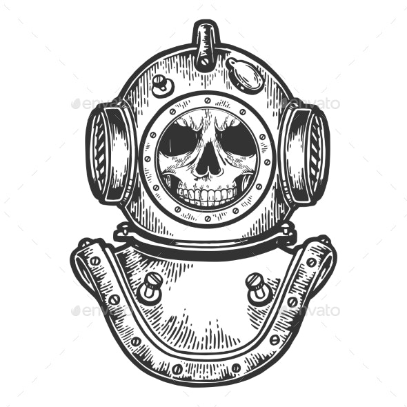 Human Skull in Diving Helmet Sketch Engraving - Miscellaneous Characters