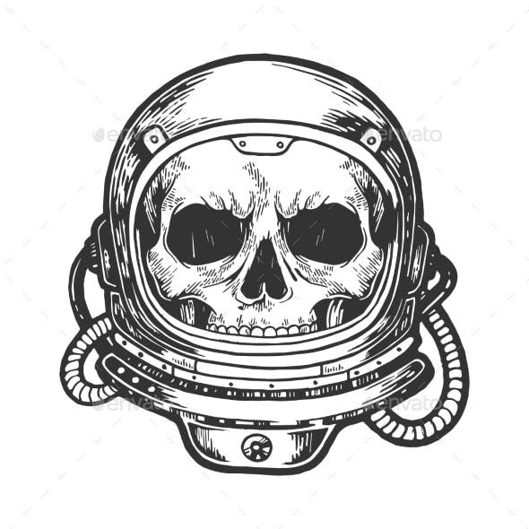 Human Skull in Astronaut Helmet Sketch Engraving
