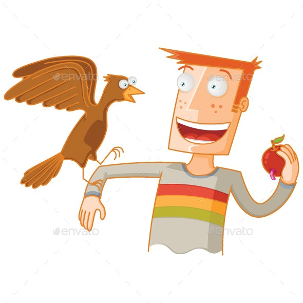 Man Feeding a Bird with an Apple - Animals Characters