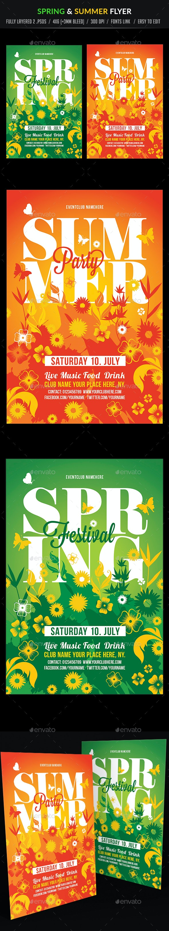 Spring and Summer Flyer Template - Clubs & Parties Events