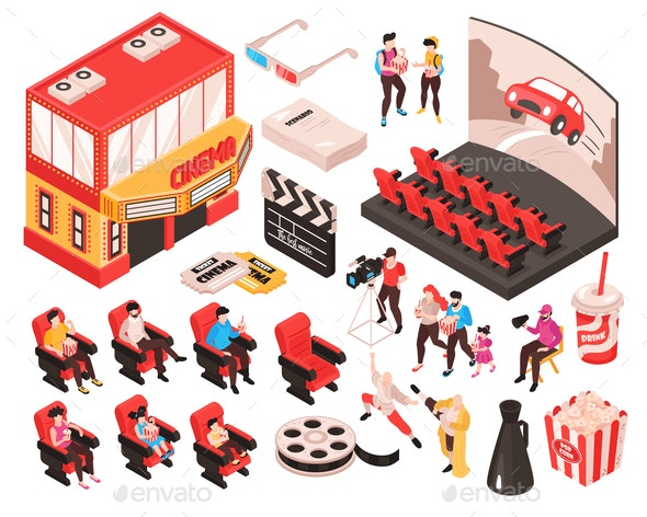 Isometric Cinema Constructor Set - Industries Business