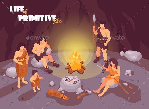 Tribe in Cave Background - People Characters