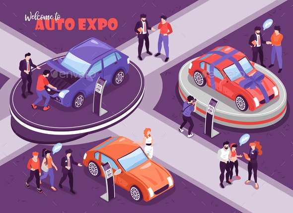 Auto Expo Isometric Composition - Miscellaneous Vectors