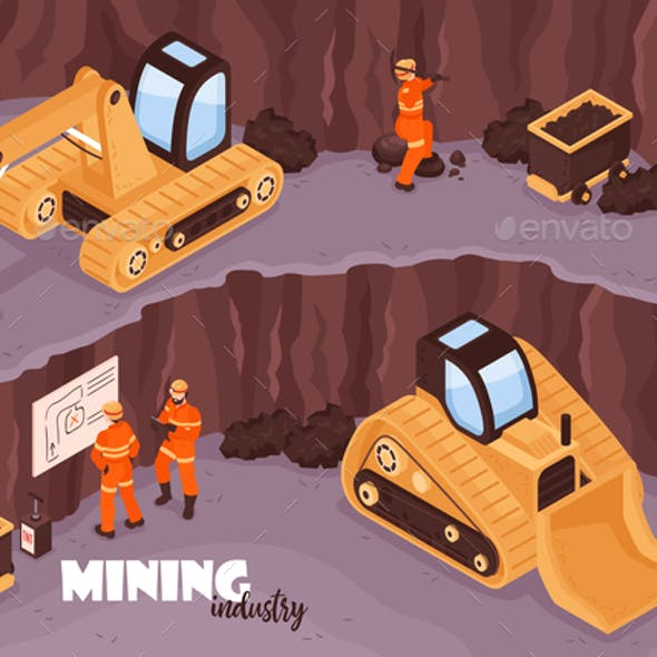 Open Mine Isometric Background