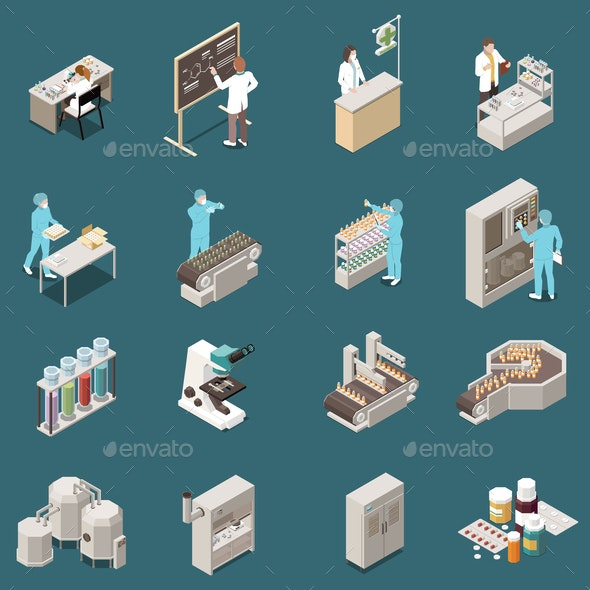 Pharmaceutical Production Isometric Icon Set - Health/Medicine Conceptual