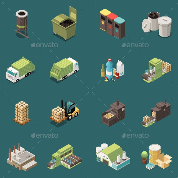 Isolated Garbage Recycling Icon Set - Industries Business