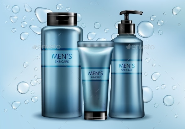 Mens Skincare Cosmetics Line Realistic Vector - Backgrounds Business