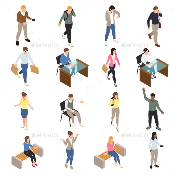 Casual City People Icons Set - People Characters