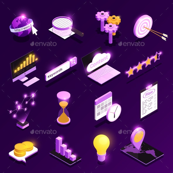 Web Traffic Isometric Icons Set - Concepts Business