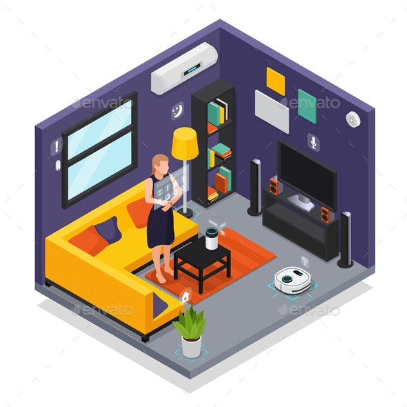 Smart Home Isometric Interior - Miscellaneous Vectors