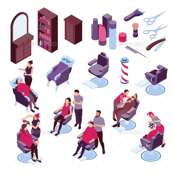 Barbershop Isometric Set - Services Commercial / Shopping