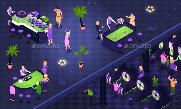 Casino Isometric Background - People Characters