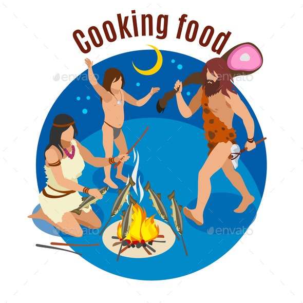 Stone Age Cooking Concept - People Characters