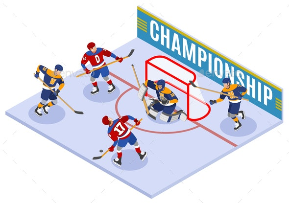 Hockey Championship Isometric Composition - Sports/Activity Conceptual