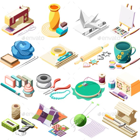 Hobby Crafts Isometric Icons Set