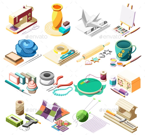 Hobby Crafts Isometric Icons Set - Miscellaneous Vectors