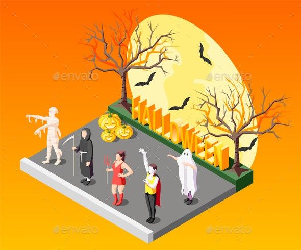 Masquerade Isometric Composition - Halloween Seasons/Holidays