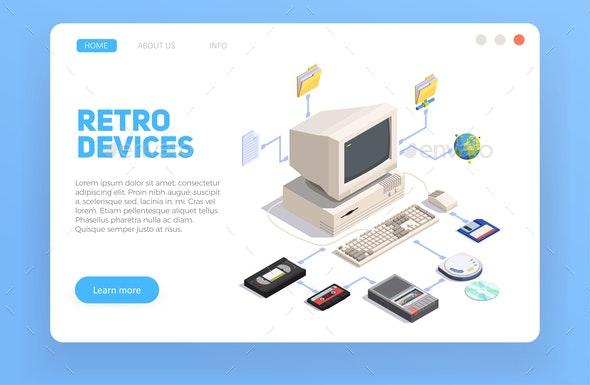 Retro Gadget Isometric Composition - Retro Technology