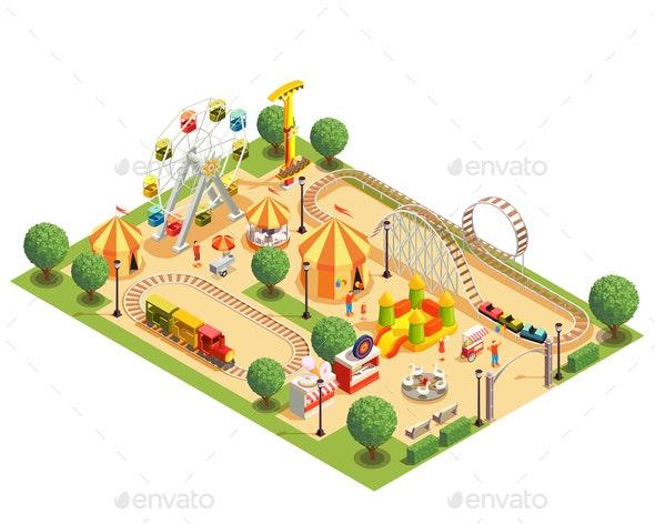 Amusement Park Isometric Composition - Miscellaneous Vectors