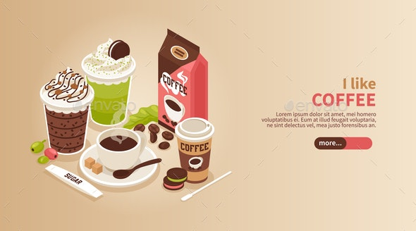 Coffee Isometric Horizontal Banner - Food Objects