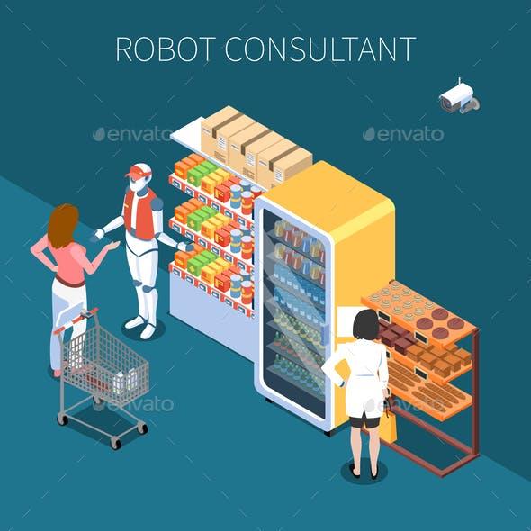 Shop Technology Isometric Background