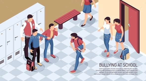School Bullying Isometric Background - People Characters